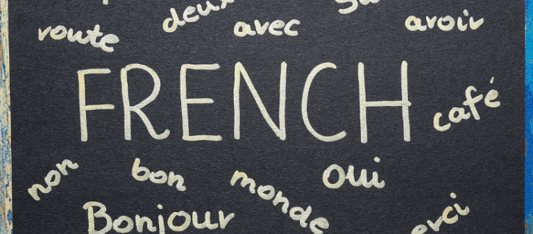 Black chalkboard with different commonly used French words