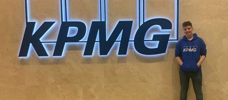 Former Central Saint Michael's Sixth Form student Kaven Judge pictured at KPMG Headquarters in Birmingham