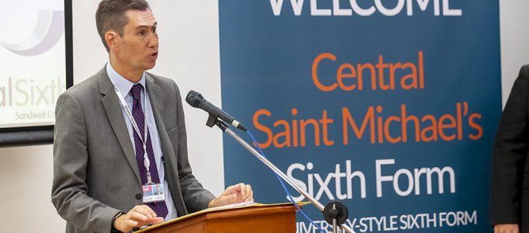 Principal Dr Matt Lamb speaking to an audience