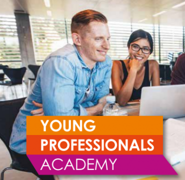 Young Professionals Academy logo with male and female student smiling in the background