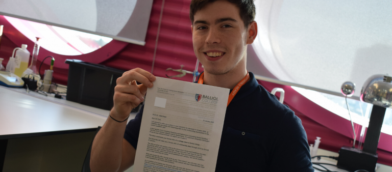 Louie pictured with his University of Oxford offer letter