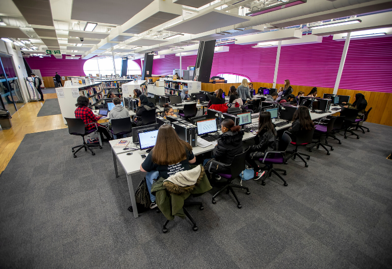 Group of students using the computer facilities at Central Saint Michael's Sixth Form