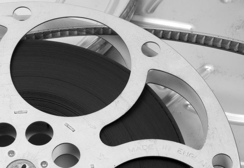 A cinema reel placed on its back