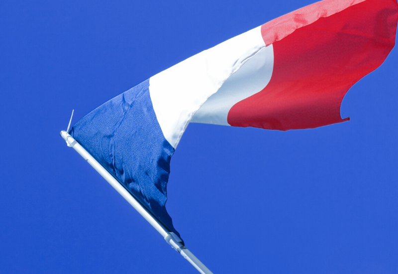 The French flag waving in the air