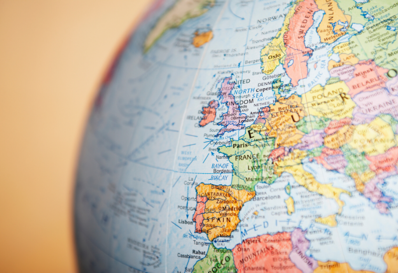 A globe, focused in on Europe and Northern Africa