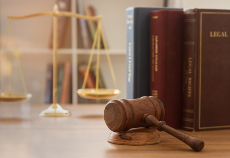A gavel placed on a desk