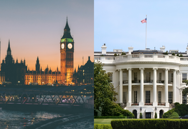 An image split into two, on the left handside is Big Ben in London and on the right handside is the White House in Washington DC, USA