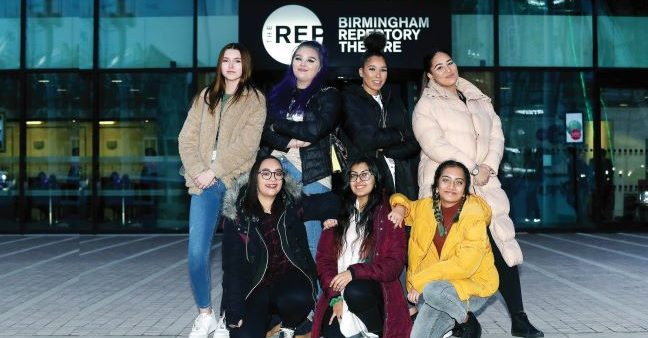 Group of female students pictured outside Birmingham Repertory Theatre
