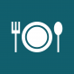 White spoon, fork and plate with a navy blue background