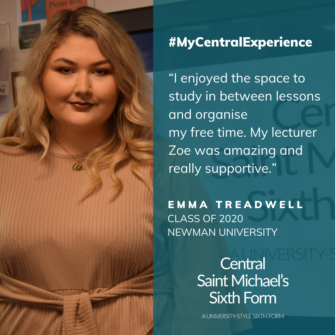Quote from Emma Treadwell saying how she enjoyed the space to organise her free time and how she enjoyed her relationship with her lecturer