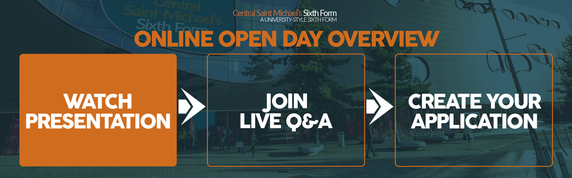 Online Open Day Overview banner encouraging attendees to watch a presentation, join the live Q&A session and to create an application