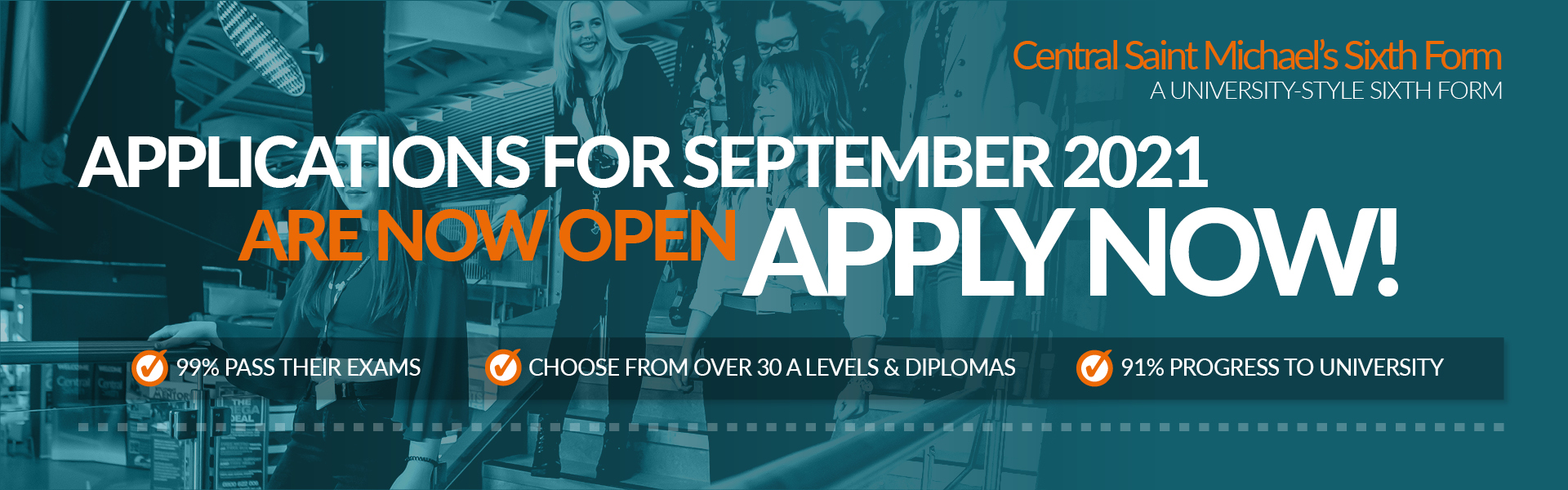 Applications for September 2021 are now open, click here to apply now