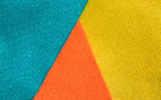 Turquoise, orange and yellow fabrics