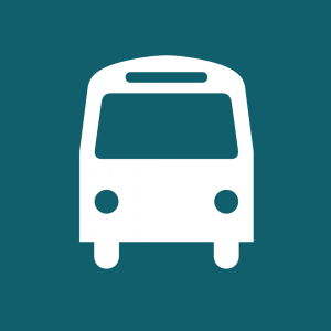 Free Travel icon showing white bus on blue background